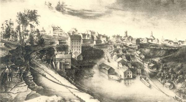Reverse view of the locks in about 1836